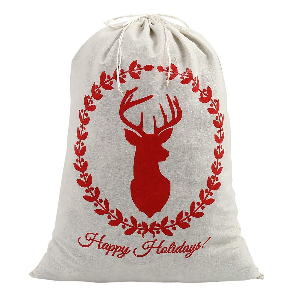 Bullstar 28x20inch Set Of 4 Santa Sack Christmas Canvas Bags With Drawstring Extra Large Size Xmas