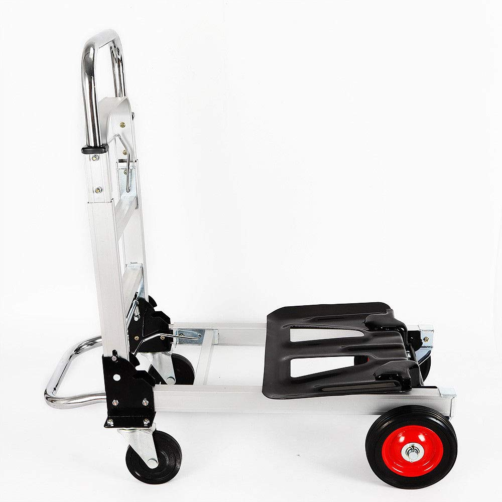Platform Cart, 2 in 1 Folding Aluminum Push Hand Truck Convertible Folding Dolly Heavy Duty Utility Platform Cart Push Cart Dolly Collapsable Hand Truck for Home/Warehouse/Office Use (US Stcok)