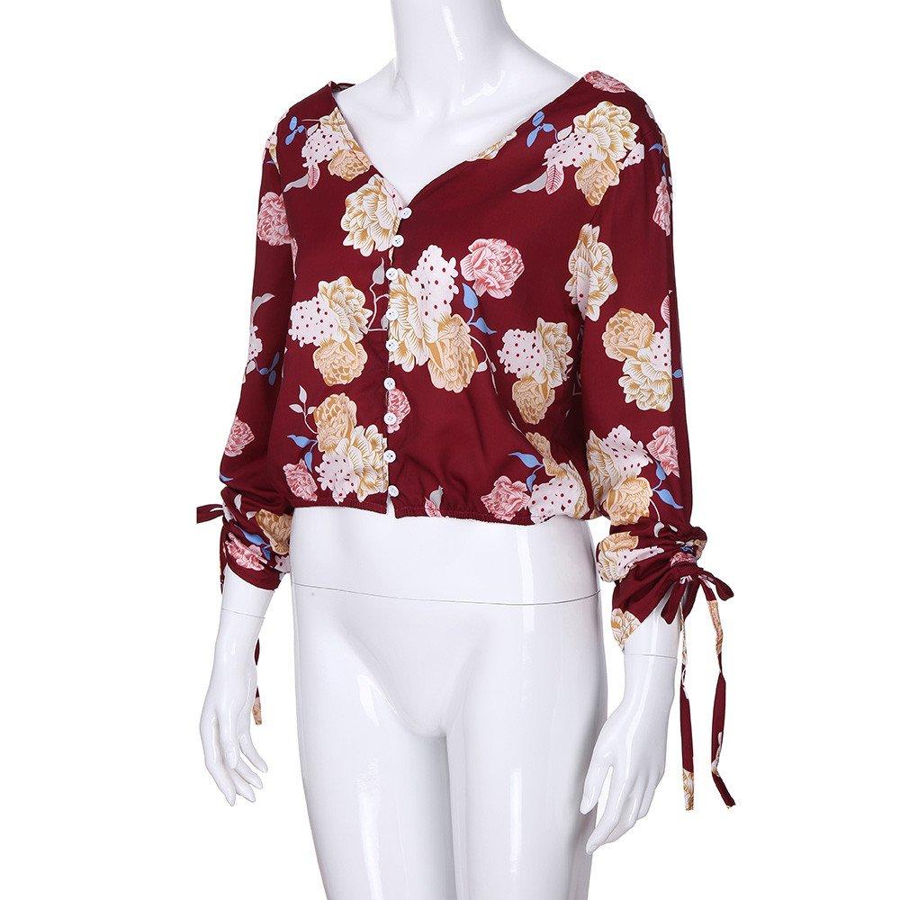 Mujer y Niña otoño fashion,Sonnena ❤ Blusa estampada floral casual de mujer con botones Blusa lateral con lazo elegante y manga larga Tops Blusa: ...