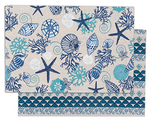Kay Dee Placemat (Kay Dee Designs R2544S Blue Shells Reversible Fabric Placemats, Set of)