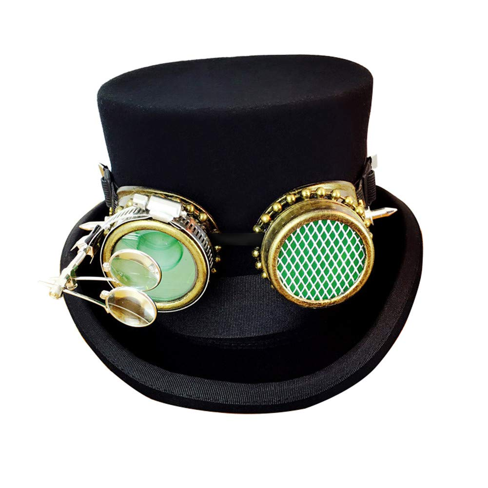 Large Steampunk Hat with Goggles & Gears with Monocle Gears Cog Victorian Top Hat,M