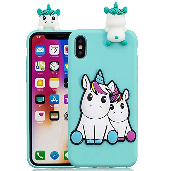 Amazon.com: Cute 3D Peeking Unicorn Friend Teal Silicone ...