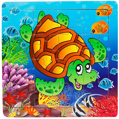 Bearstar Wooden Jigsaw Puzzle with Storage Tray for 2 to 4 Years Old Kids, Set of 3 (16-Pieces Ocean Animals)