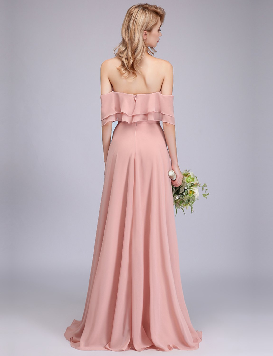 524d27481f45 ... Dresses/CLOTHKNOW Strapless Chiffon Bridesmaid Dresses Long Blush with Shoulder  Ruffles for Women Girls to Wedding Party Gowns. ; 