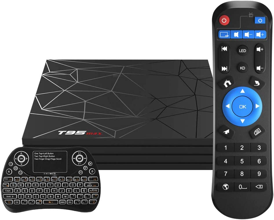 Android TV Box,T95 MAX Android 9.0 TV Box 4GB RAM/32GB ROM Quad-Core Soporte 2.4Ghz WiFi 6K Smart TV Box con Mini Teclado Inalámbrico: Amazon.es: Electrónica
