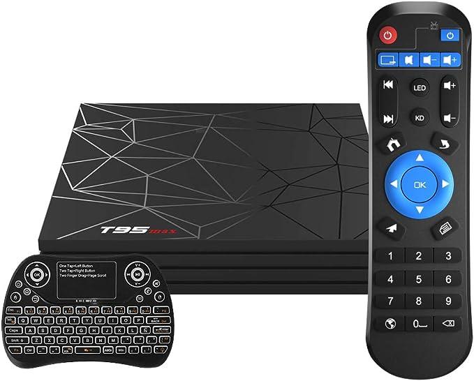 Android TV Box,T95 MAX Android 9.0 TV Box 4GB RAM/32GB ROM Quad-Core Soporte 2.4Ghz WiFi 6K Smart TV Box con Mini Teclado Inalámbrico: Amazon.es: Electrónica