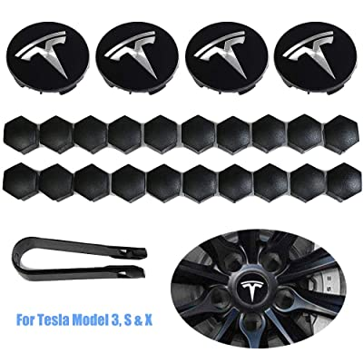 Luckily Wheel Center Hub Caps for Tesla Model 3, S & X Set Aero,Set of Tesla Logo Wheel Caps +Center Hub Nut Cap Lug Nut Cover(White): Automotive