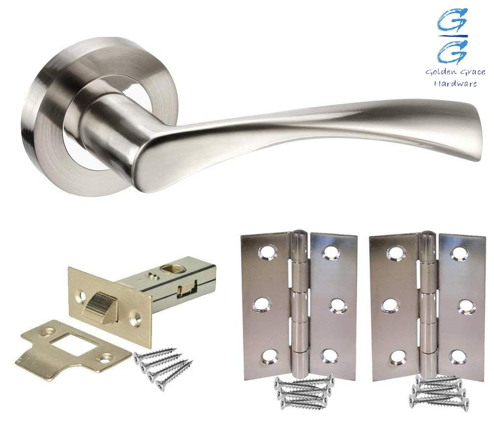 Astrid Bathroom Door Handles On Backplate Satin Stainless Steel Finish Golden Grace