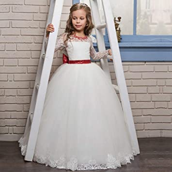 c154a8b24 Little Girls  Ball Gown Party Dress Red Tie Bow Flower with Diamonds ...