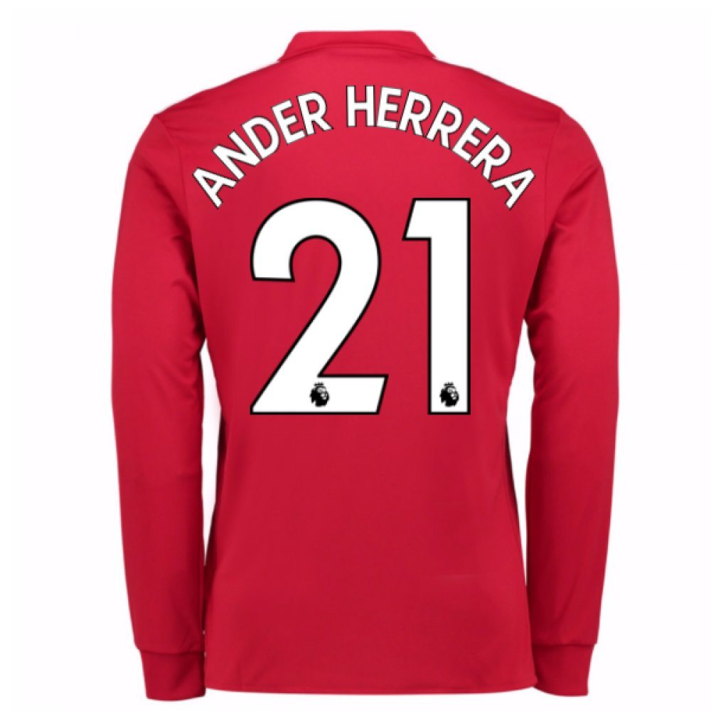 2017-2018 Man United Long Sleeve Home Football Soccer T-Shirt Trikot (Ander Herrera 21)
