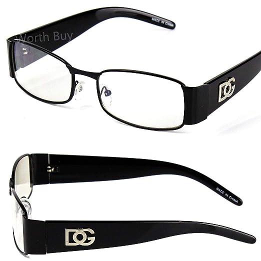 f4f51a4e44 Amazon.com  Men Women DG Clear Lens Designer Rectangular Eyeglasses Retro  Fashion Nerd Frame  Clothing