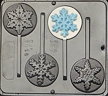 snowflake lollipop plastic chocolate candy mold 2058 christmas - Christmas Candy Molds