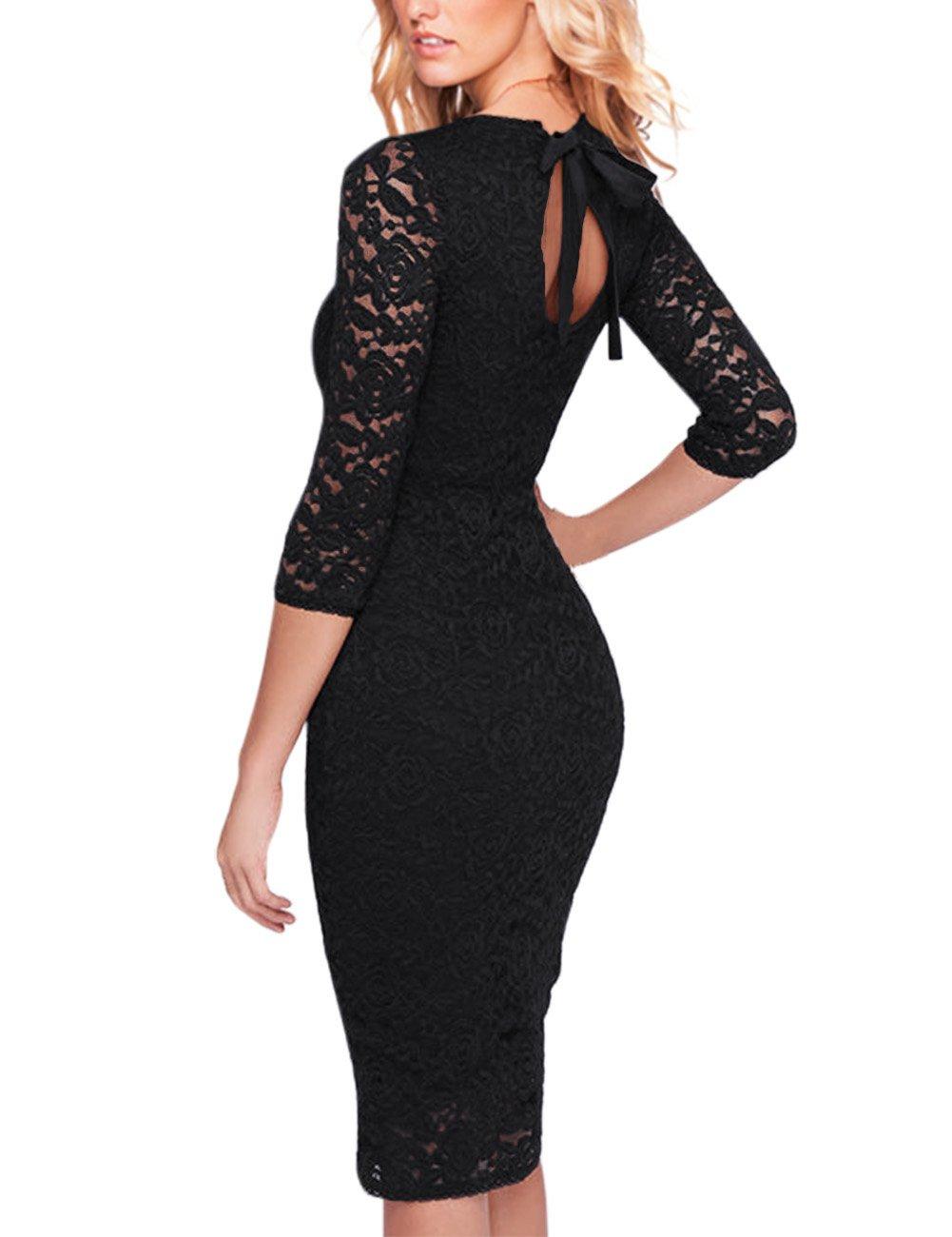 GlorySunshine Women Floral Lace Back Strap Short Lace Bodycon Cocktail Dress (M, New Black)