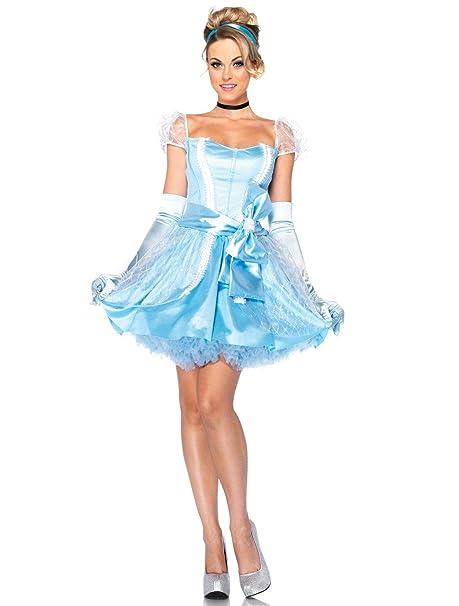 5b482a26c292 Leg Avenue, costume da donna del personaggio Disney di Cenerentola con  scarpette di cristallo, costume: Amazon.it: Abbigliamento