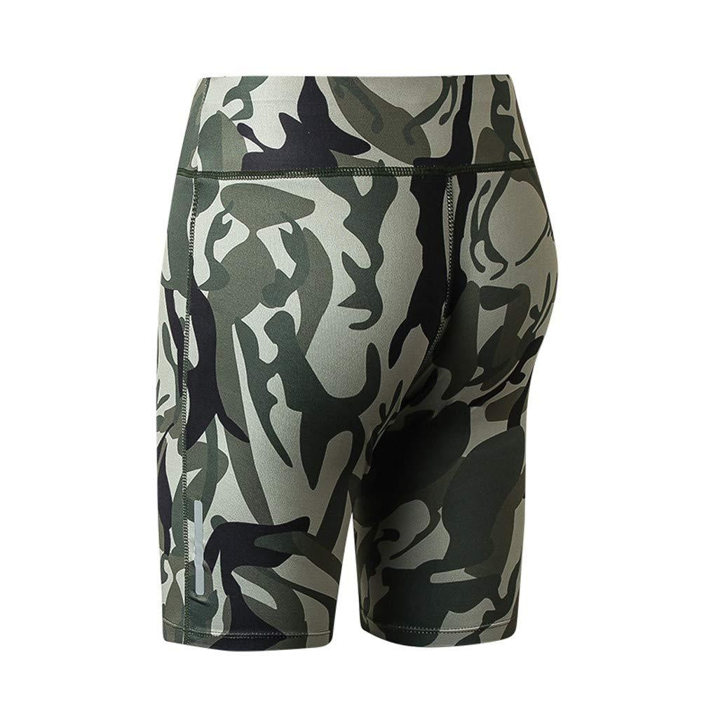 XNKH Womens Camouflage Luminous Reflective Strip Yoga Sports Shorts Yoga Pant