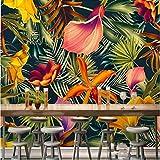 LWCX 3D Wallpaper Hand-Painted Tropical Rain Forest Plant Flowers Cartoon Decoration Tv Background Silk Fabric Material 320X210CM