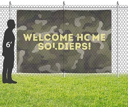 Camo Wind-Resistant Outdoor Mesh Vinyl Banner 9x6 CGSignLab Inner CircleWelcome Home
