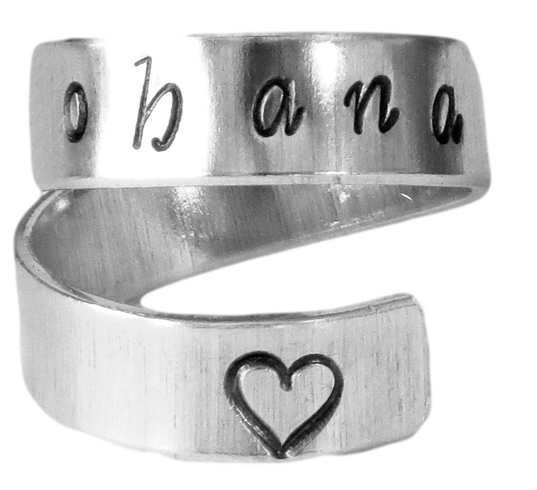 Ohana Wrap Ring, Ohana Family, Hawaiian Word Ring, Lilo and Stitch Inspired Twist Aluminum Ring, Family Love Heart Ring