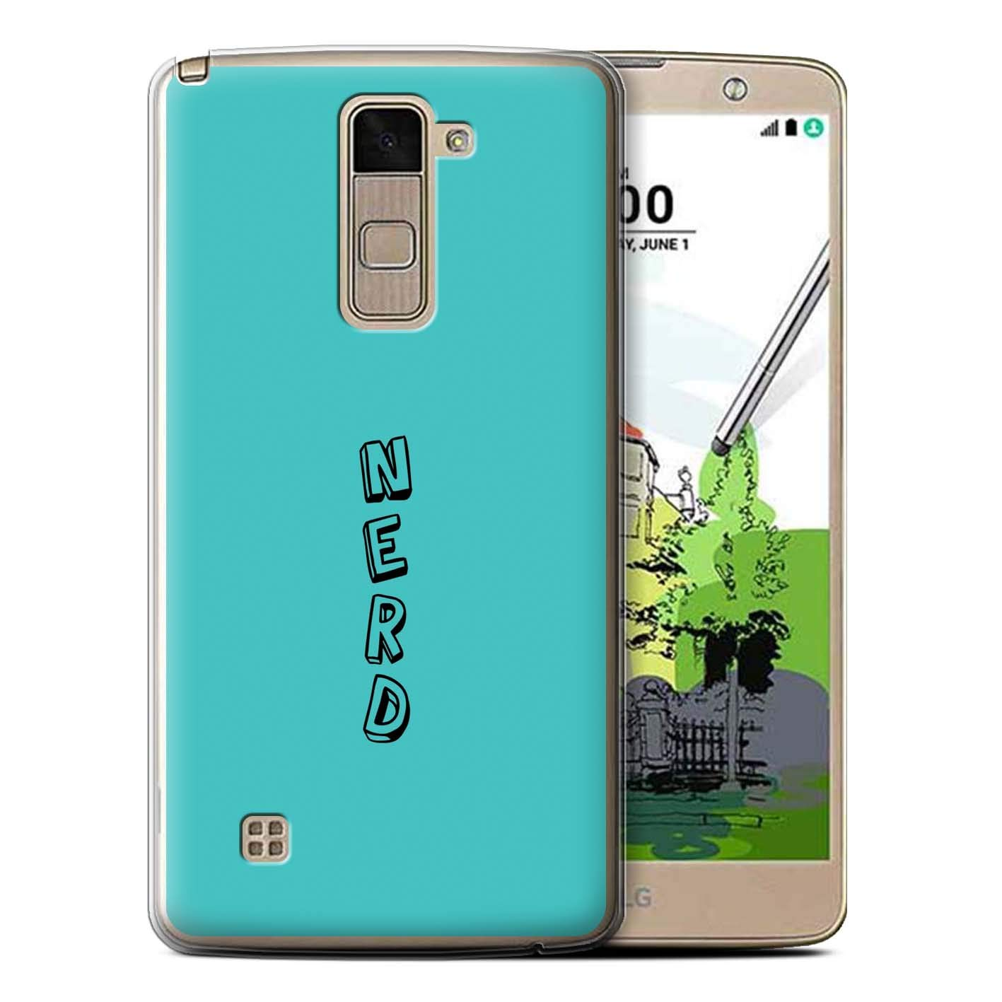 eSwish Gel TPU Phone Case/Cover for LG Stylo 2 Plus/MS550/K535 / Blue/Nerd Design/Doodle Words Collection