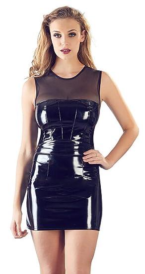 Black Level Vestido de Vinilo con Malla Falda para Mujer: Amazon ...