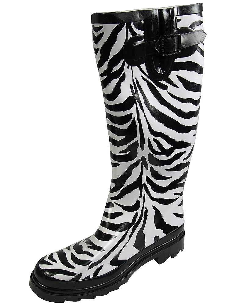 Sunville Women's Mid Calf Waterproof Rubber Garden Rainboots B00NQLNLAG US Women's 9 B(M)|Zebra