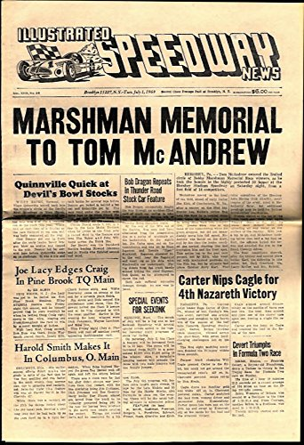 (ILLUSTRATED SPEEDWAY NEWS 7/1 1969 McAndrew Marshman Memorial; Carter Nazareth)