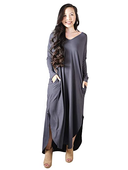 c51c7faee2a Anna-Kaci Women s Long Sleeve Casual Oversized High Low V-Neck Maxi Dress  with