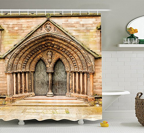 Rustic Decor Shower Curtain Set Medieval Middle Age Cathedral Door Exit with Gothic Ornate Features Great Britain Uk Theme Bathroom Accessories