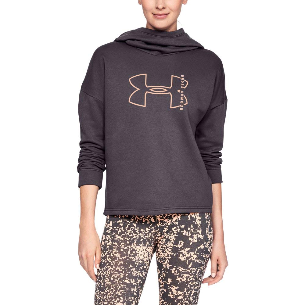 Under Armour Women's Rival Fleece Big logo hoodie, Pixel Purple (509)/Peach Horizon, X-Small