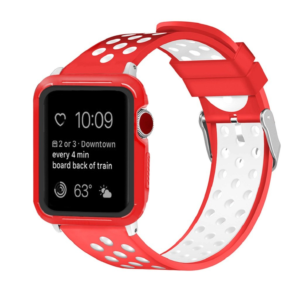 Juzzhou Watch Band For Apple Watch iWatch Series 1/2/3 Soft Silicone Replacement Wriststrap Bracelet Watchband Wristband Wrist Strap With Adapter Adjustable Clasp For Women Girl Lady Red White 38mm