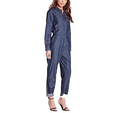 9a14d31d252 Amazon.com  Kaured Fashion Winter Jumpsuits Women Long Sleeve Female Denim  Jumpsuits Loose Blue Ladies Jumpsuits Jeans  Clothing