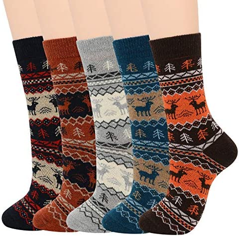Mens Wool Warm Socks Soft Cozy Socks for Fall Winter Cashmere Athletic Crew Long Socks for Men
