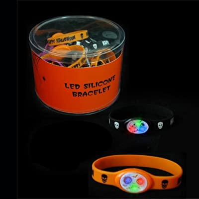 Mammoth Sales 12 PC LED Light Up Flashing Halloween Party Silicone Bracelets Wristbands: Clothing [5Bkhe0900394]