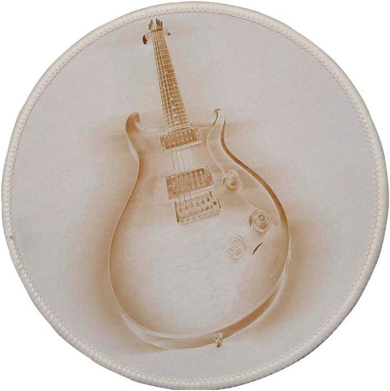 Alfombrilla de ratón Redonda de Goma Antideslizante decoración de música Jazz gráfico de Guitarra eléctrica sobre Fondo Liso Pasatiempos Modernos Decoración de Rock Pop Jazz Crema Crudo 7.9