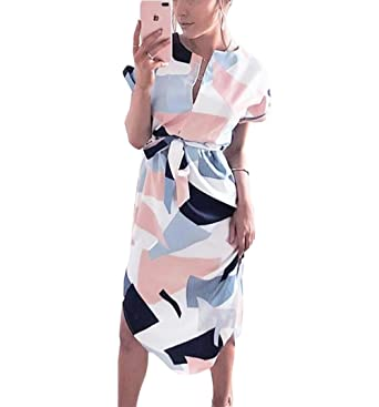 Poptem Womens Summer Casual V-Neck Geometric Pattern Belted Midi Pencil  Dresses White Small 6db940b66