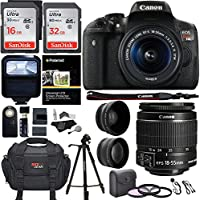 Canon EOS Rebel T6i 24.2 MP DSLR Camera, 18-55mm f/3.5-5.6 STM Lens, Polaroid HD .43x Wide Angle & 2.2X Telephoto Lens, Sandisk 64 GB + 57' Tripod, 58mm Filter Kit, Bag and Accessory Bundle