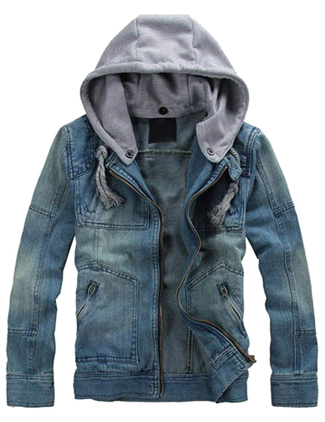 Lentta Men's Slim Fit Zip Up Removable Hooded Drawstring Denim Jean Biker Jacket (Medium, Blue005) by Lentta