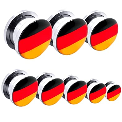 Túnel Dilatador Kit Piercing Acero inoxidable Dilataciones Pendientes Alemania Bandera Fútbol Ø 1,6 - 14 mm, Farbe2:Alle Größen / All Sizes 1.6 - 10mm: ...