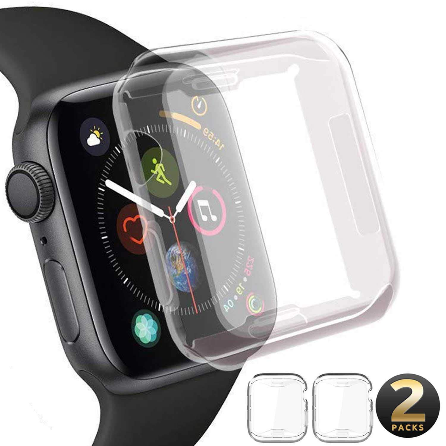 【2Pack】 Wistore Compatible with Apple Watch 4 Case 44mm, Apple Watch Series 4 Screen Protector, 2018 New iWatch Overall Protective Case TPU HD Clear Ultra-Thin Cover for Apple Watch Series 4 (44mm) by Wistore (Image #1)