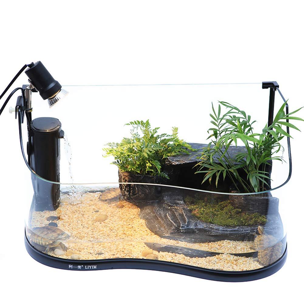JIANGU Glass turtle tank, with drying platform and water