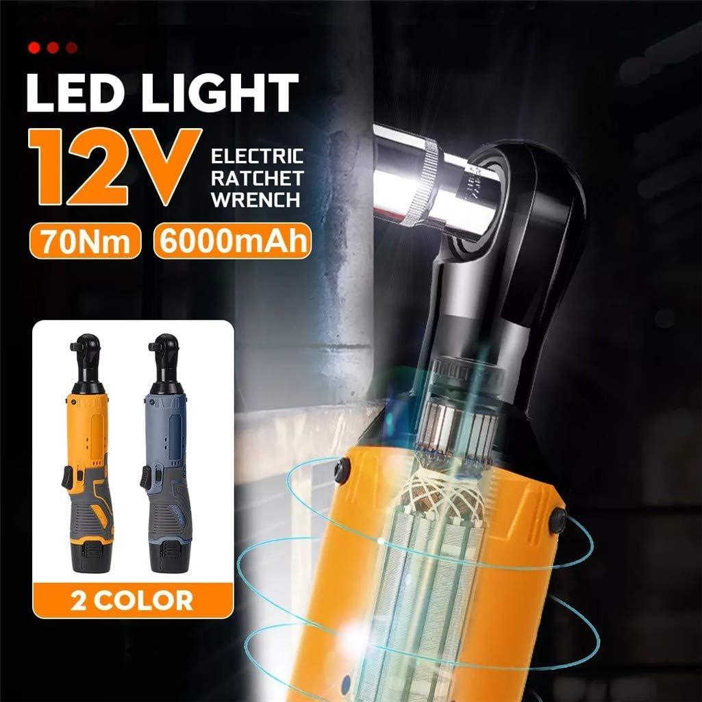 12 V 70 Nm 350 U//min rechtwinklig Elektrischer Ratschenschl/üssel Orange Fulltime Elektrischer Ratschenschl/üssel 6000mAh EU-Stecker