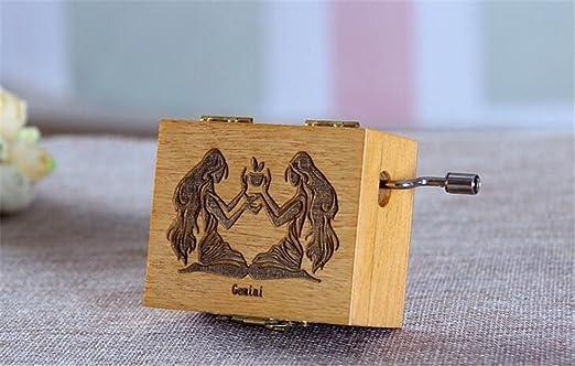 Cuzit Home Decor Gemini Caja de música con manivela de mano, estilo vintage, caja de música de madera, retro, cuzit, 12 constellaciones, cajas musicales para niños, regalo de cumpleaños feliz: Amazon.es: Hogar