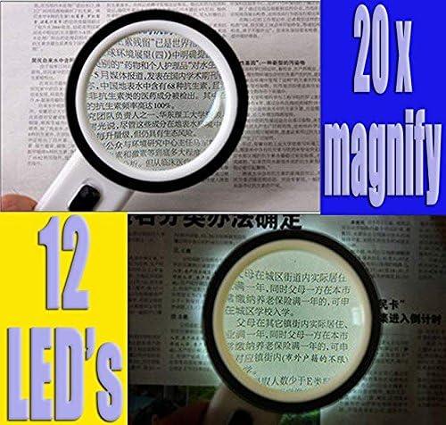 MSXBMSY Electronic Magnifier Lupa Grande 20x Potente Lupa de Mano for ni/ños Joyeros for ni/ños Lectura de Libros de peri/ódico