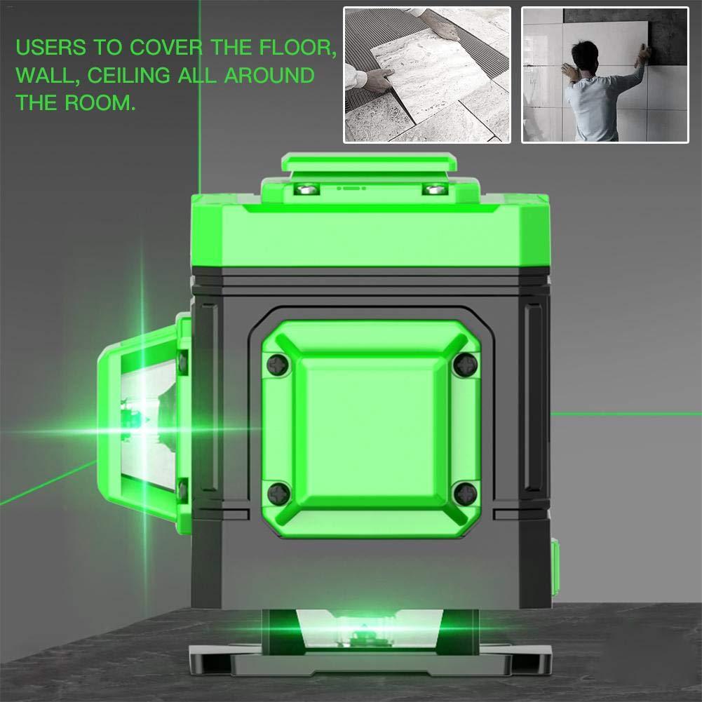 IP 54 Giratorio de 360 Grados con Base Magn/ética Fexible waysad L/íneas Cruzadas Nivel Verde con 2 Puntos de Soldadura bater/ía Incluida