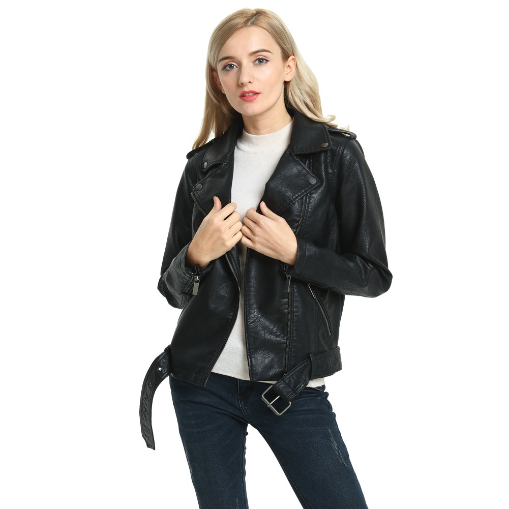 SECOND COLOR Girl's Faux Leather Jacket, Women's Basic Classic Cool Asymmetrical Racing Style Motorcycle Bomber Jacket Coat,Black