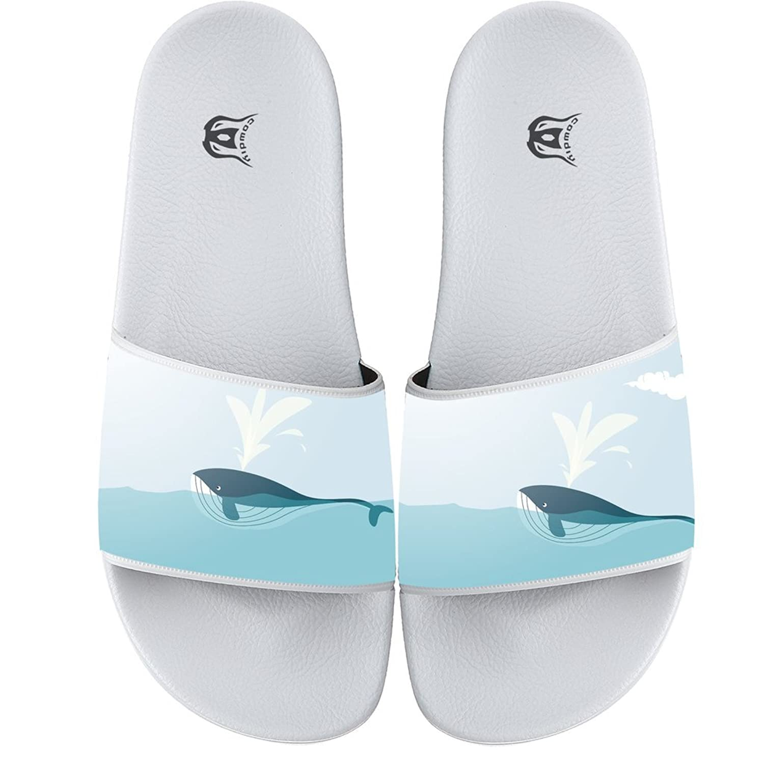 Cute Whale Womens Beach Sandals Travel Outdoor Comfortable Girls Slides Sandal Summer Home Casual Slippers White new
