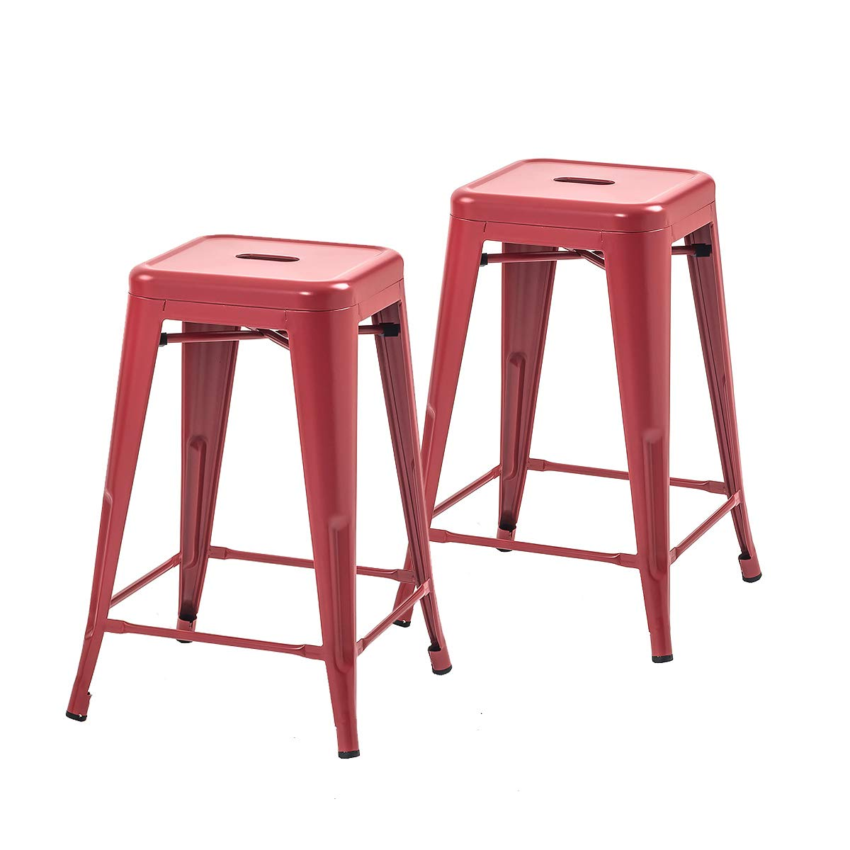 Buschman Set of 2 Red 24 Inch Counter Height Metal Bar Stools, Indoor Outdoor, Stackable