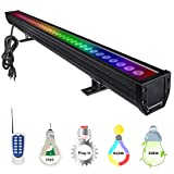 YRXC 108W RGBW LED Wall Washer, Non-dimmable Color Changing LED Light Bar with 12 Key RF Remote, 3.2ft/40'' 120V IP65 Indoor/Outdoor Bar Garden, Parties, Wedding, Sign, Casinos, Billboards(Black) (Color: Black, Tamaño: 40