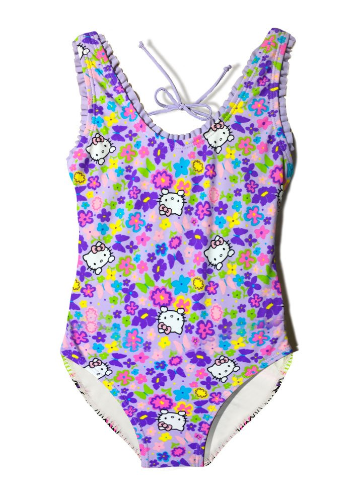 Girls' Hello Kitty Fringe One Piece Purple Swimsuit Swimwear Ruffle Bathing Suit (Purple, 5/6) by INGEAR (Image #1)