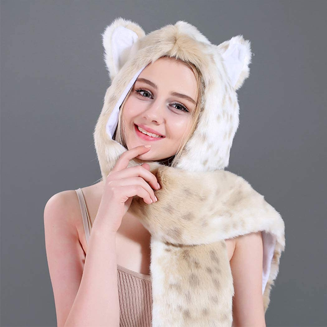 Winter Warm Faux Fur Animal Hat Cartoon Full Animal Faux Fur Hoodie Hat Mitten Scarf Faux Fur Warm Soft Furry hat as a Gift